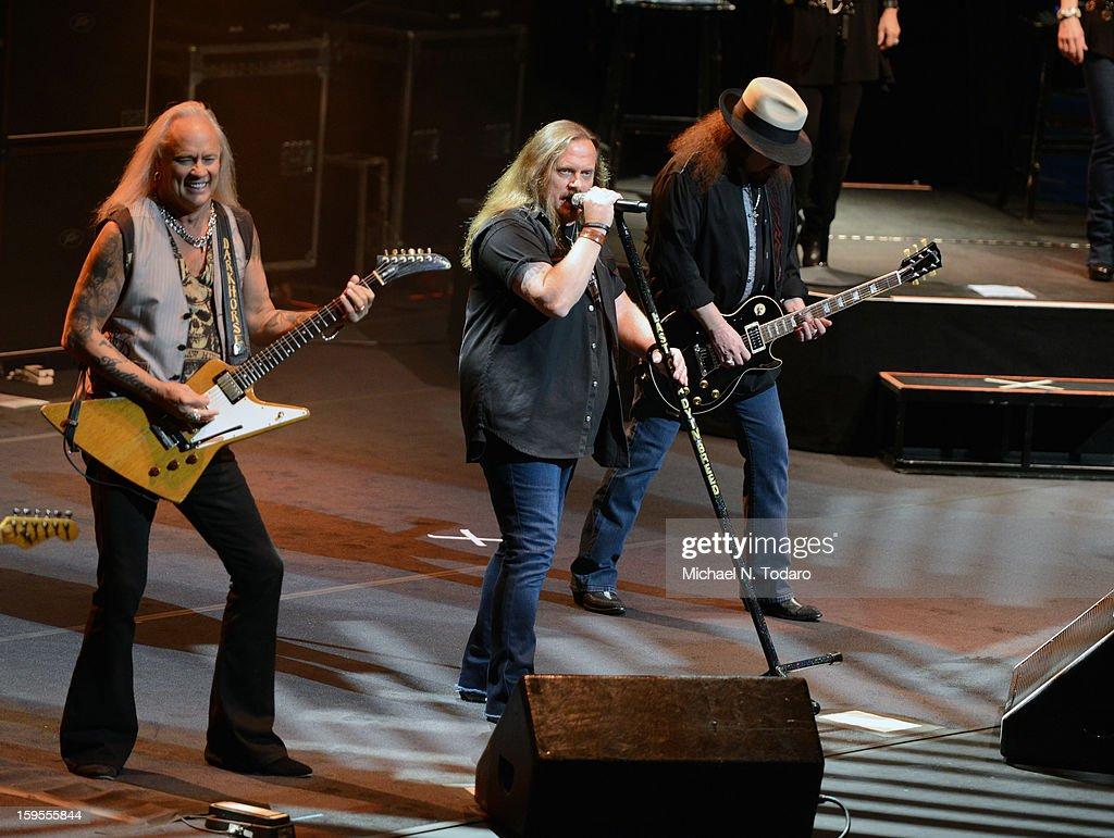 Rickey Medlocke, Johnny Van Zant and Gary Rossington perform at The Beacon Theatre on January 15, 2013 in New York City.