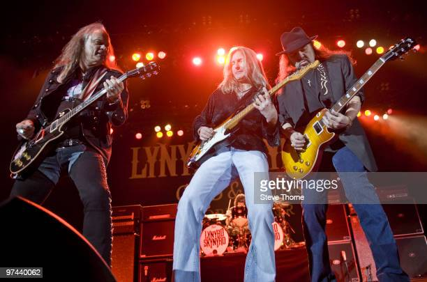 Rickey Medlocke, Mark Matejka and Gary Rossington of Lynyrd Skynyrd perform on stage at LG Arena on March 4, 2010 in Birmingham, England.