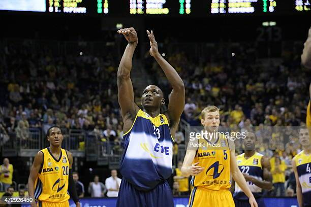 Rickey Paulding gets a three throw as Alba Berlin defeated EWE Baskets Oldenburg with 9590 in BBL playoff game played at O2 World in Berlin