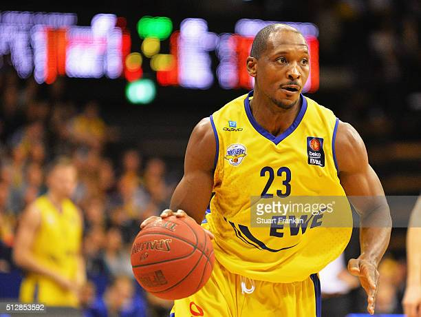Rickey Paulding of Oldenburg in action during the Bundesliga basketball match between EWE Baskets Oldenburg and Phoenix Hagen at Large EWE Arena on...