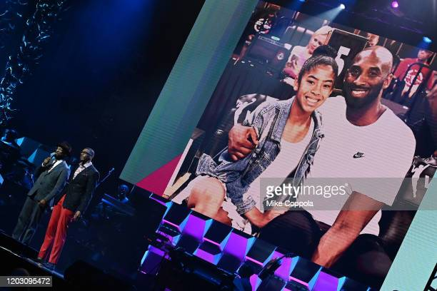 Rickey Smiley and Devin Funchess do a tribute to Gianna 'Gigi' Bryant and Kobe Bryant during the BET Super Bowl Gospel Celebration at the James L...