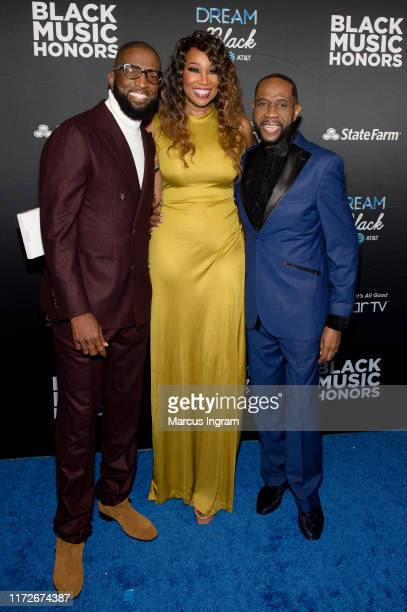 Rickey Smiley, Yolanda Adams, and Freddie Jackson attend the 2019 Black Music Honors at Cobb Energy Performing Arts Center on September 05, 2019 in...