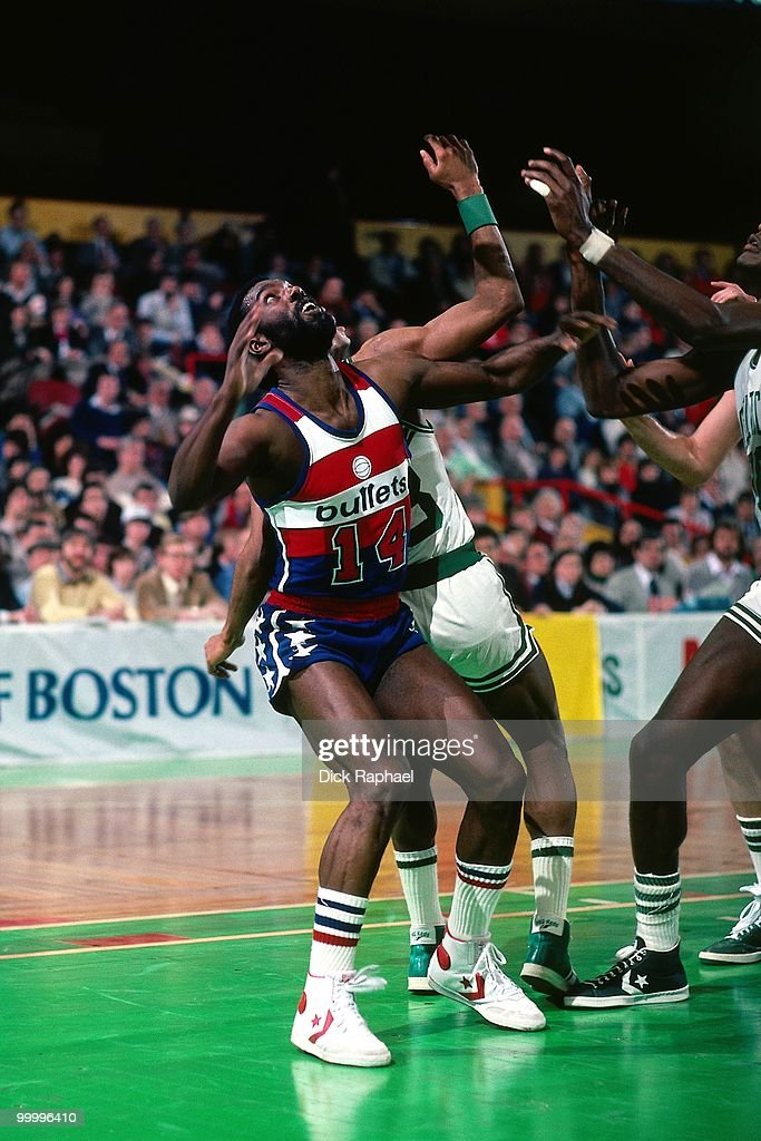 Rickey Sobers #14 of the Washington Bullets boxes out against the Boston Celtics during a game played in 1983 at the Boston Garden in Boston, Massachusetts.