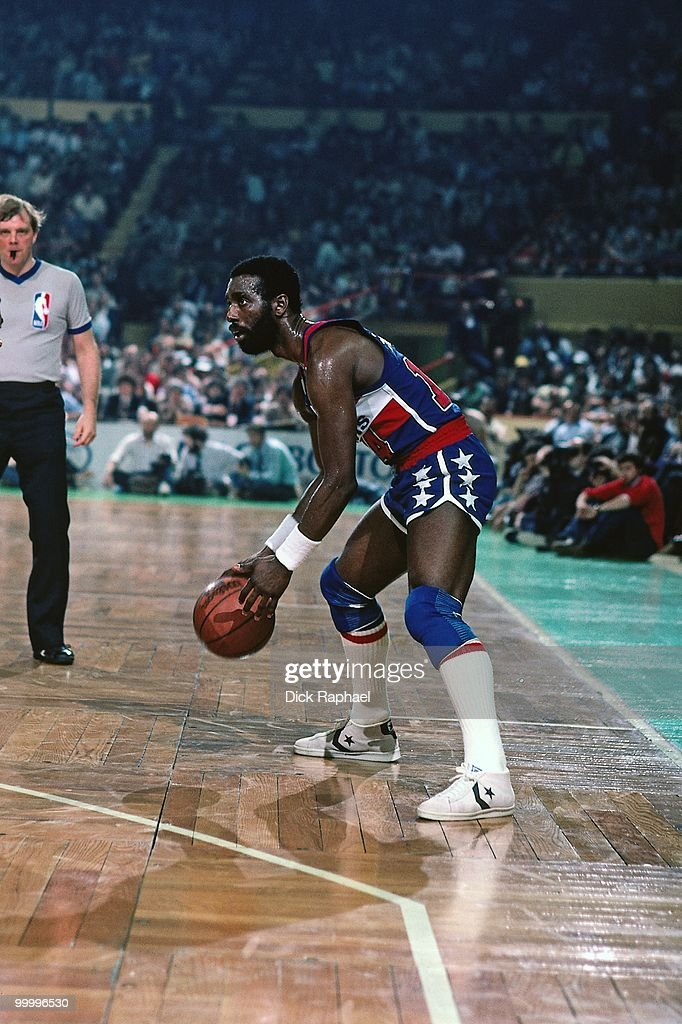 Rickey Sobers #14 of the Washington Bullets looks to make a move against the Boston Celtics during a game played in 1983 at the Boston Garden in Boston, Massachusetts.