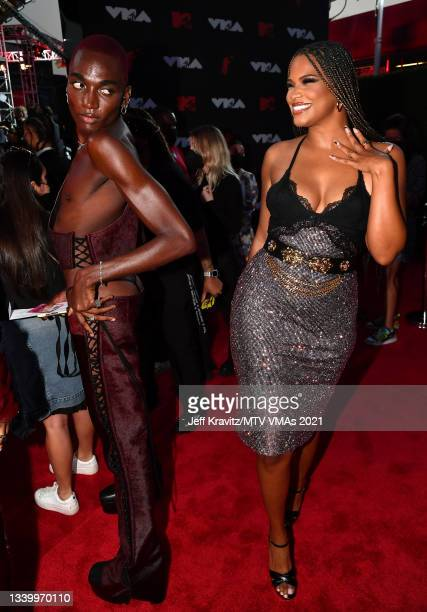 Rickey Thompson and Kamie Crawford attend the 2021 MTV Video Music Awards at Barclays Center on September 12, 2021 in the Brooklyn borough of New...