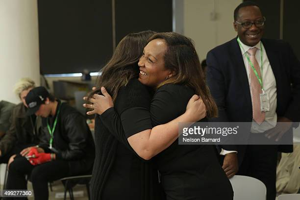 Ricki Lake and Marie Da Silva embrace at the launch of #TREATMENTFORALL at the Facebook Office on November 30 2015 in New York City