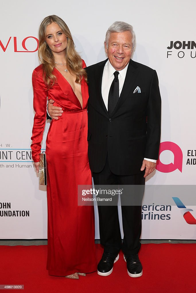 Ricki Noel Lander and Robert Kraft attend the Elton John AIDS Foundation's 13th Annual An Enduring Vision Benefit at Cipriani Wall Street powered by CIROC Vodka on October 28, 2014 in New York City.