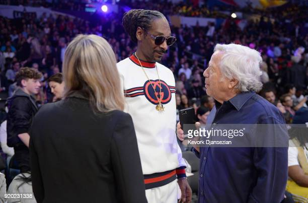 Ricki Noel Lander Snoop Dogg and New England Patriots owner Robert Kraft attend the NBA AllStar Game 2018 at Staples Center on February 18 2018 in...