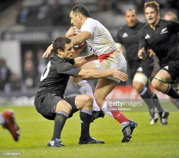 Rickie Flutey and Dan Carter during England v New Zealand Rugby Union at Twickenham 29th November.