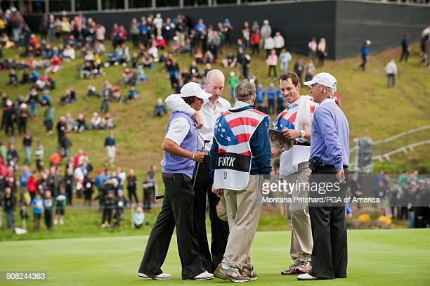 Rickie Fowler and Jim Furyk during the foursome matches in session two at the 38th Ryder Cup at the Twenty Ten Course at Celtic Manor in Newport...