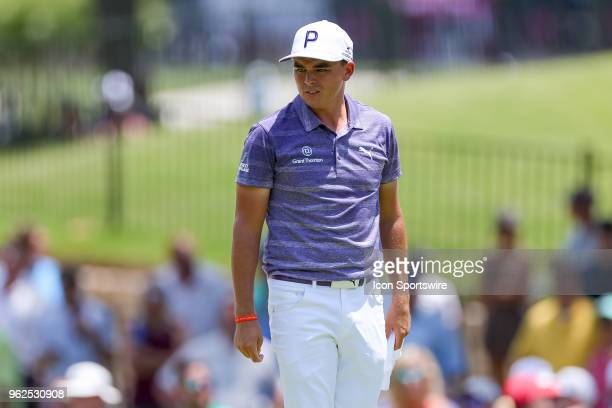 Rickie Fowler checks out the green during the second round of the Fort Worth Invitational on May 25 2018 at Colonial Country Club in Fort Worth TX