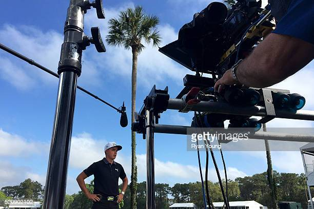 Rickie Fowler films a commercial during THE PLAYERS Championship Media Day at TPC Sawgrass on April 13, 2016 in Ponte Vedra Beach, Florida.