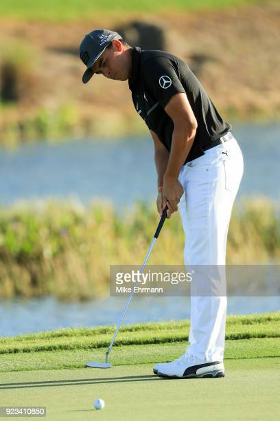 Rickie Fowler hits a putt on the 11th green during the second round of the Honda Classic at PGA National Resort and Spa on February 23 2018 in Palm...
