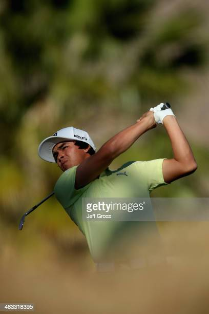 Rickie Fowler hits a tee shot on the eleventh hole of the Jack Nicklaus Private Course at PGA West during the second round of the Humana Challenge in...