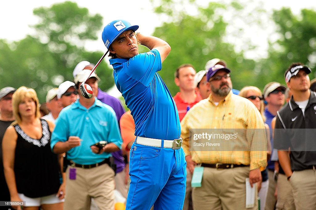 Rickie Fowler hits his second shot on the 2nd hole during the third round of the Zurich Classic of New Orleans at TPC Louisiana on April 27, 2013 in Avondale, Louisiana.