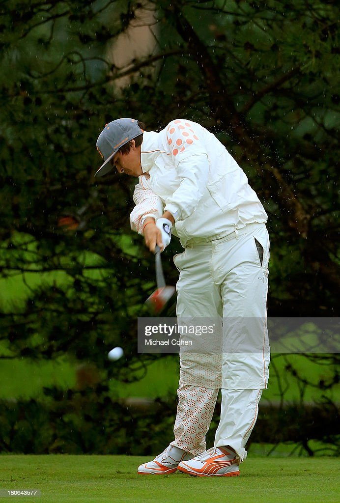 Rickie Fowler hits off the fourth tee during the Final Round of the BMW Championship at Conway Farms Golf Club on September 15, 2013 in Lake Forest, Illinois.