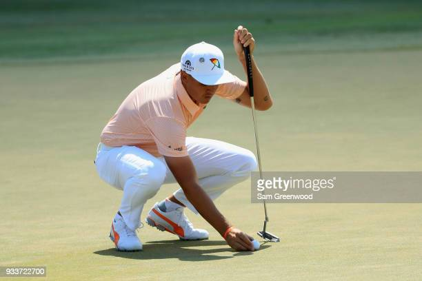 Rickie Fowler lines up a putt on the second hole during the final round at the Arnold Palmer Invitational Presented By MasterCard at Bay Hill Club...