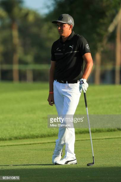 Rickie Fowler looks on from the 11th fairway during the second round of the Honda Classic at PGA National Resort and Spa on February 23 2018 in Palm...