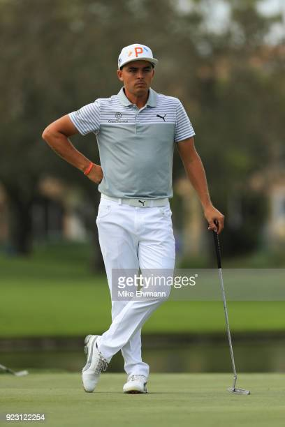 Rickie Fowler looks on from the eighth green during the first round of the Honda Classic at PGA National Resort and Spa on February 22 2018 in Palm...