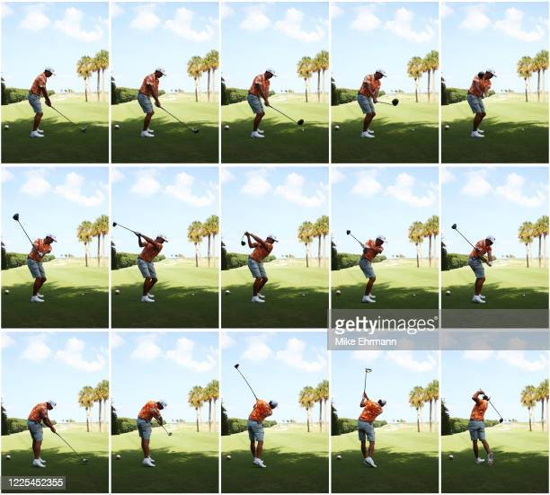 Rickie Fowler of the CDC Foundation team plays his shot from the 12th tee during the TaylorMade Driving Relief Supported By UnitedHealth Group on May...