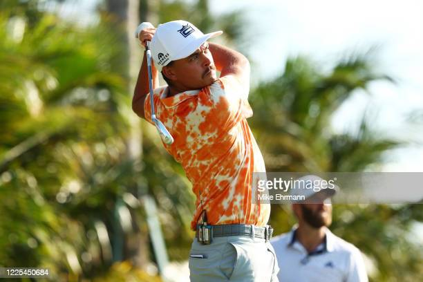 Rickie Fowler of the CDC Foundation team plays his shot from the 16th tee during the TaylorMade Driving Relief Supported By UnitedHealth Group on May...