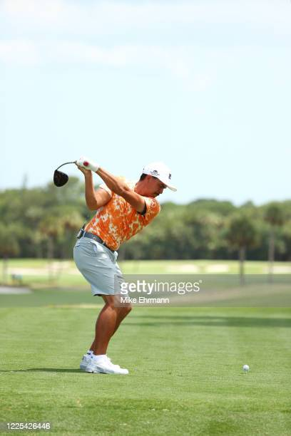 Rickie Fowler of the CDC Foundation team plays his shot from the third tee during the TaylorMade Driving Relief Supported By UnitedHealth Group on...