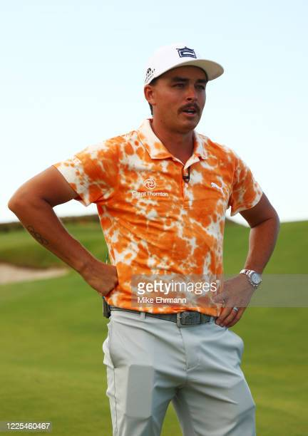 Rickie Fowler of the CDC Foundation team reacts after he and Matthew Wolff of the CDC Foundation team were defeated by Rory McIlroy of the American...