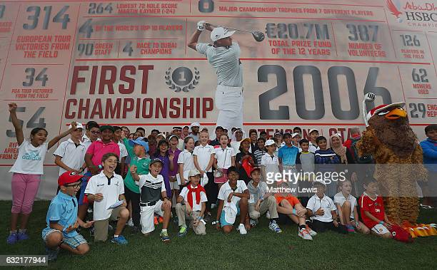 Rickie Fowler of the United States and Abdul Afattah Sharaf CEO of HSBC UAE pictured with the HSBC Future Falcons during day two of the Abu Dhabi...