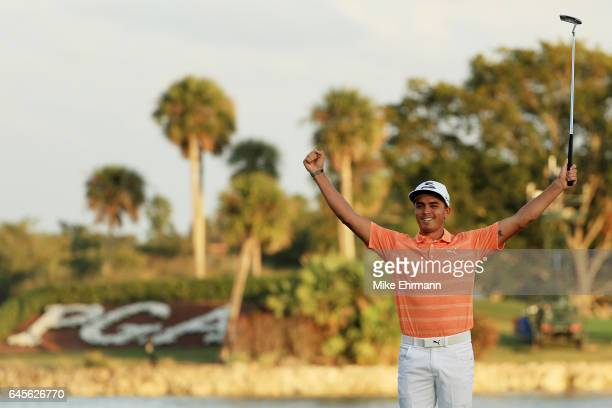 Rickie Fowler of the United States celebrates winning on the 18th green during the final round of The Honda Classic at PGA National Resort and Spa on...