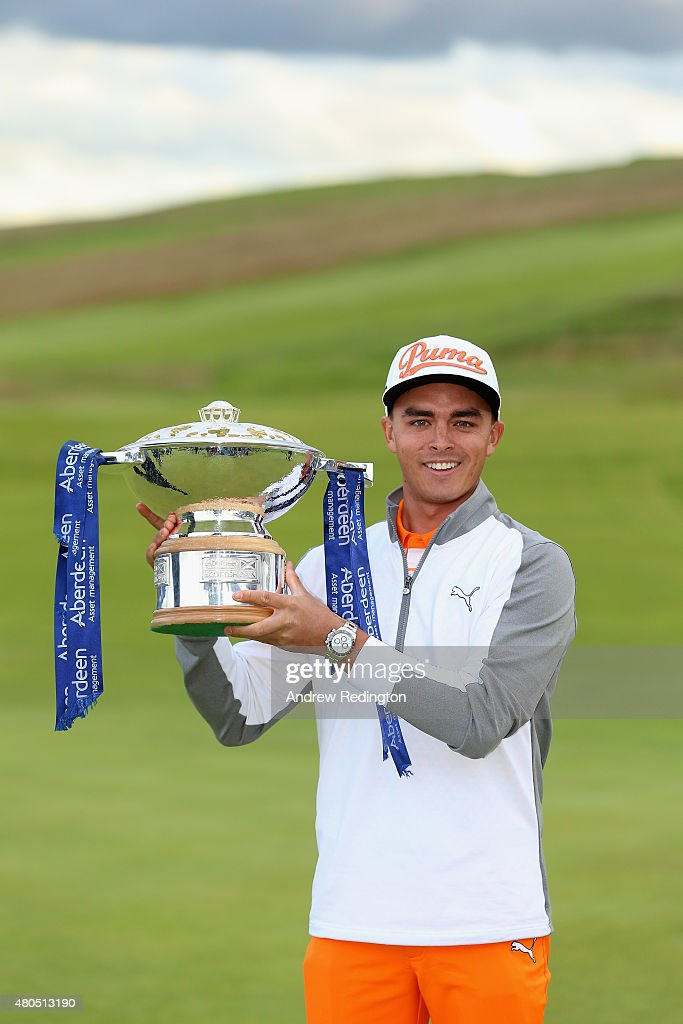 Rickie Fowler of the United States celebrates with the trophy after winning the Aberdeen Asset Management Scottish Open at Gullane Golf Club on July 12, 2015 in Gullane, East Lothian, Scotland.