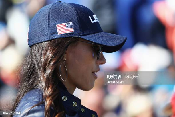 Rickie Fowler of the United States fiance Allison Stokke during singles matches of the 2018 Ryder Cup at Le Golf National on September 30, 2018 in...
