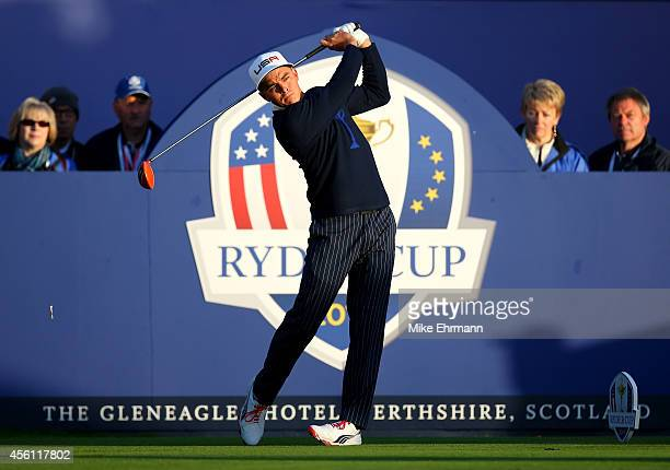 Rickie Fowler of the United States hits his opening tee shot on the 1st hole during the Morning Fourballs of the 2014 Ryder Cup on the PGA Centenary...