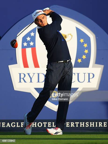 Rickie Fowler of the United States hits his opening tee shot on the 1st during the Morning Fourballs of the 2014 Ryder Cup on the PGA Centenary...