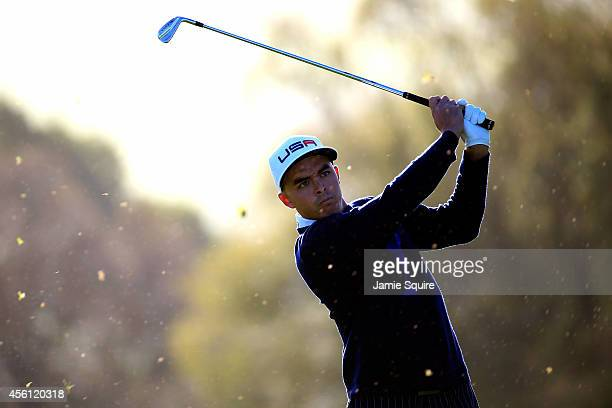 Rickie Fowler of the United States hits his second shot on the 5th hole during the Morning Fourballs of the 2014 Ryder Cup on the PGA Centenary...