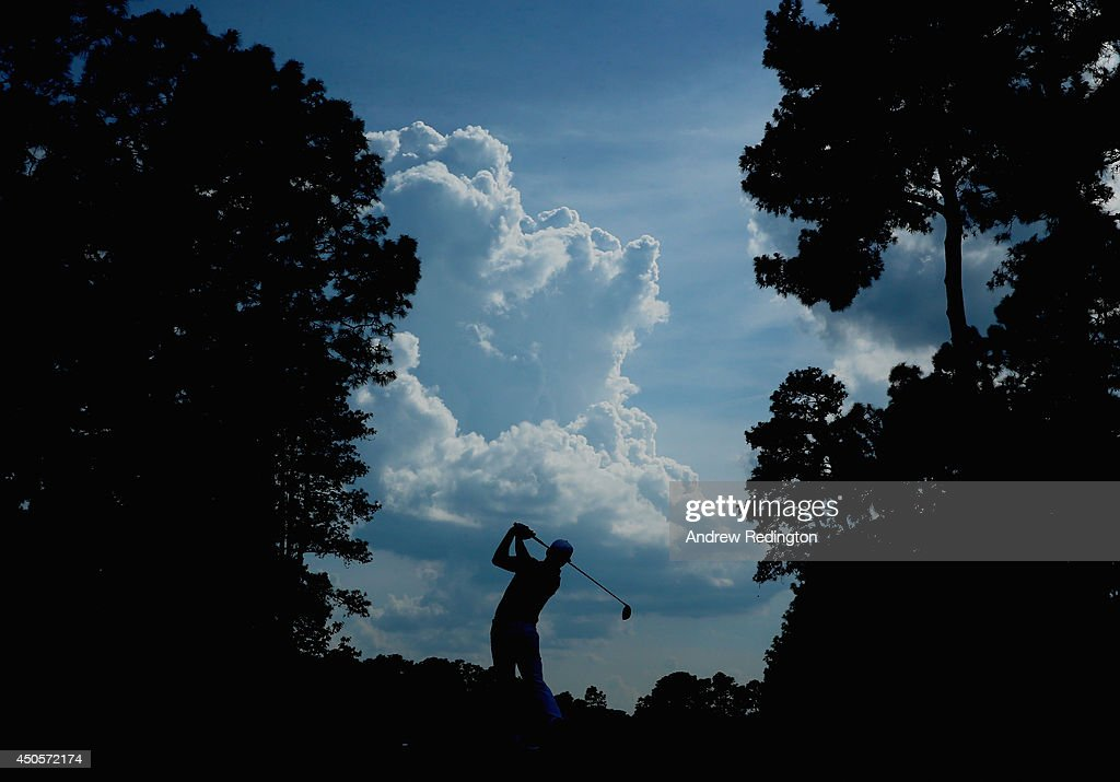Rickie Fowler of the United States hits his tee shot on the 11th hole during the second round of the 114th U.S. Open at Pinehurst Resort & Country Club, Course No. 2 on June 13, 2014 in Pinehurst, North Carolina.