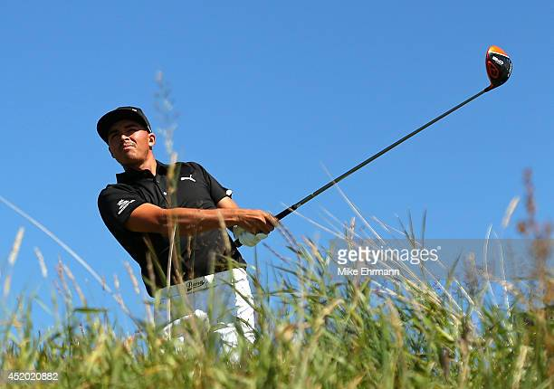 Rickie Fowler of the United States hits his tee shot on the 12th hole during the second round of the 2014 Aberdeen Asset Management Scottish Open at...