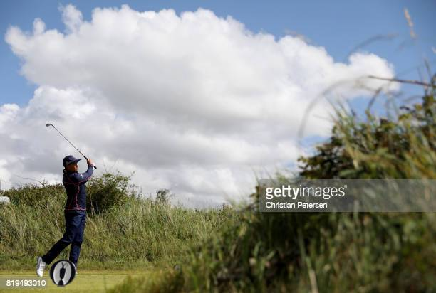 Rickie Fowler of the United States hits his tee shot on the 7th hole during the first round of the 146th Open Championship at Royal Birkdale on July...