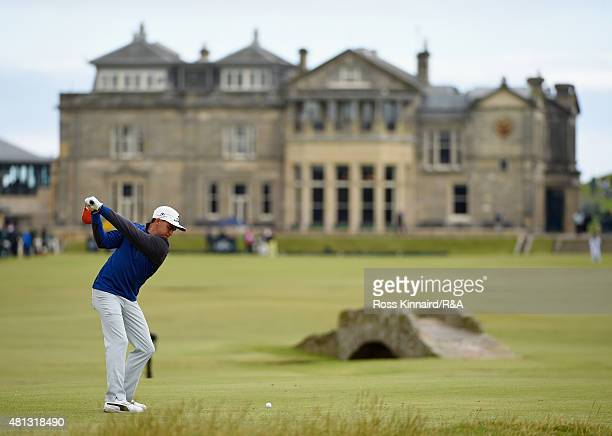 Rickie Fowler of the United States hits his tee shot onthe 18th hole during the third round of the 144th Open Championship at The Old Course on July...