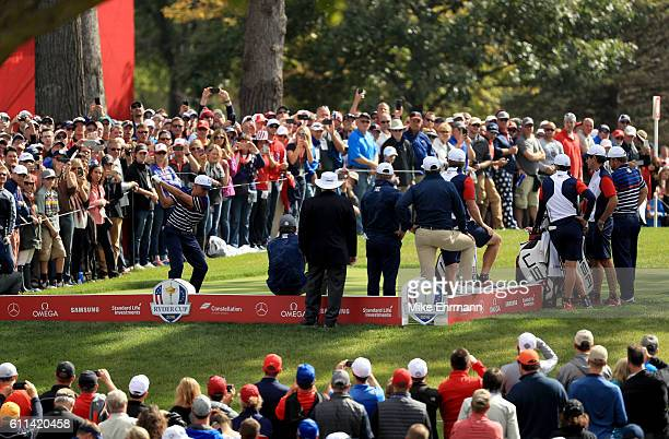 Rickie Fowler of the United States hits off the tee during practice prior to the 2016 Ryder Cup at Hazeltine National Golf Club on September 29 2016...