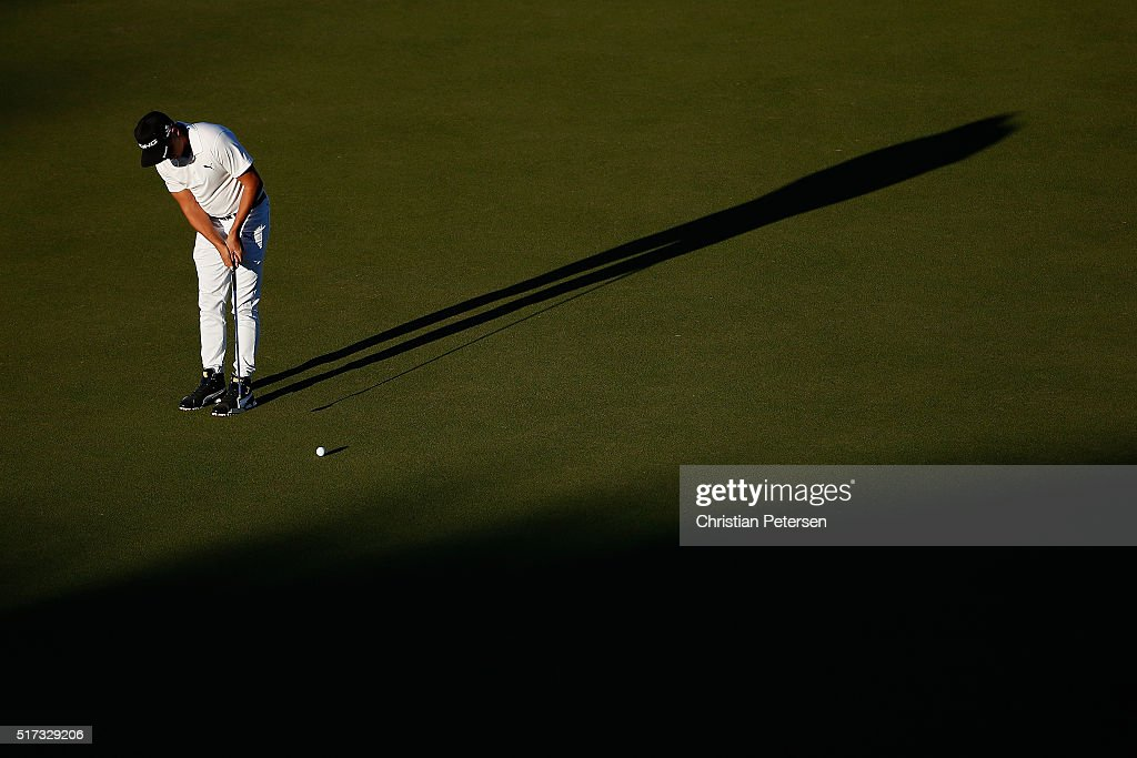 Rickie Fowler of the United States lines up a putt on the 16th green during the second round of the World Golf Championships-Dell Match Play at the Austin Country Club on March 24, 2016 in Austin, Texas.