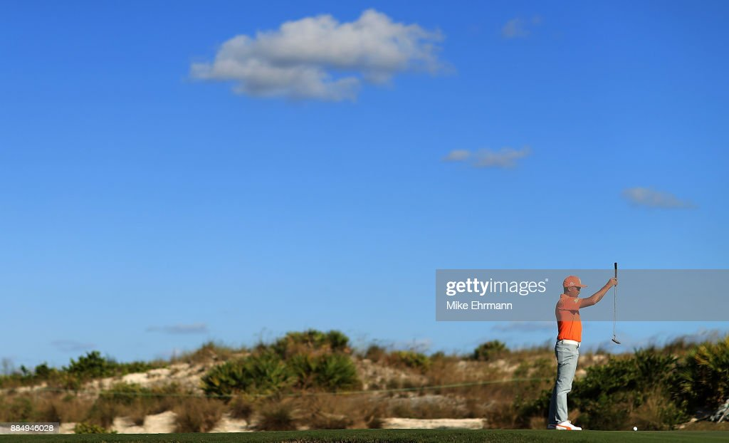 Rickie Fowler of the United States lines up a putt on the 16th hole during the final round of the Hero World Challenge at Albany, Bahamas on December 3, 2017 in Nassau, Bahamas.