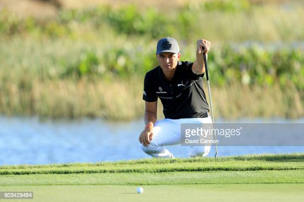 Rickie Fowler of the United States lines up a putt on the par 4 11th hole during the second round of the 2018 Honda Classic on The Champions Course...