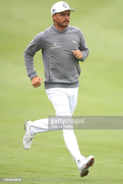 Rickie Fowler of the United States looks on during a practice round prior to the 2020 PGA Championship at TPC Harding Park on August 04, 2020 in San...