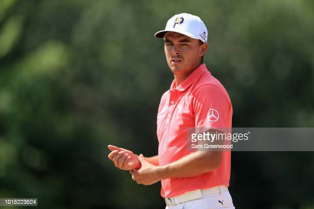 Rickie Fowler of the United States looks on during the third round of the 2018 PGA Championship at Bellerive Country Club on August 11 2018 in St...