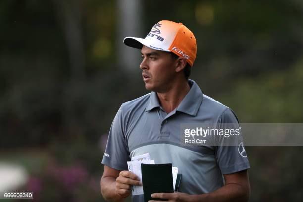 Rickie Fowler of the United States looks on from the 13th green during the final round of the 2017 Masters Tournament at Augusta National Golf Club...
