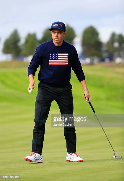Rickie Fowler of the United States looks on from the 15th green during the Morning Fourballs of the 2014 Ryder Cup on the PGA Centenary course at the...
