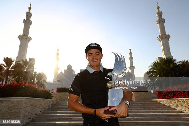 Rickie Fowler of the United States pictured with the Abu Dhabi HSBC Championship Trophy ahead of the Abu Dhabi HSBC Golf Championship at Sheikh Zayed...