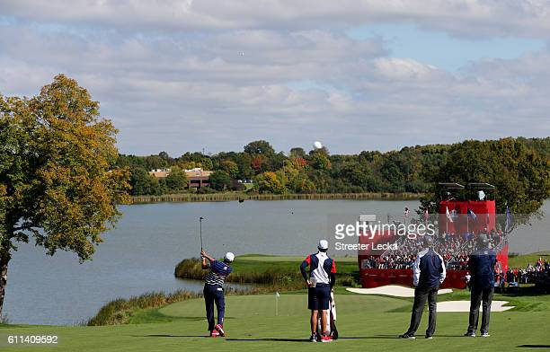 Rickie Fowler of the United States plays a shot during practice prior to the 2016 Ryder Cup at Hazeltine National Golf Club on September 29, 2016 in...