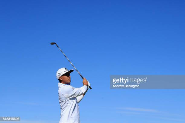 Rickie Fowler of the United States plays a shot from the fairway during a ProAm prior to the AAM Scottish Open at Dundonald Links Golf Course on July...