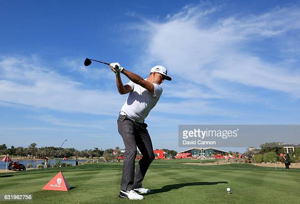 Rickie Fowler of the United States plays a shot on teh ninth hole during the pro-am for the 2017 Abu Dhabi HSBC Golf Championship at Abu Dhabi Golf...